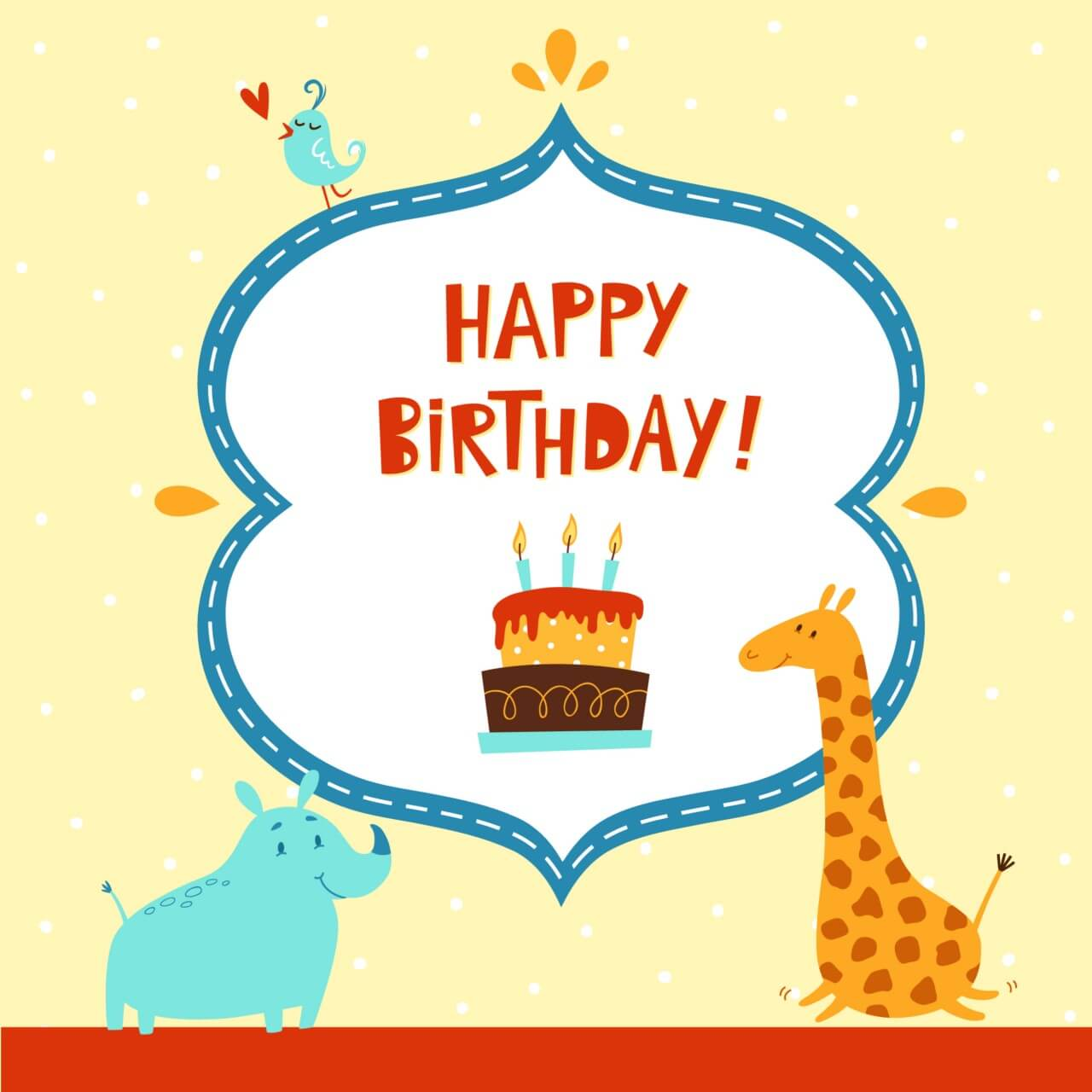 """Free vector """"Happy Birthday card with cute animals"""""""