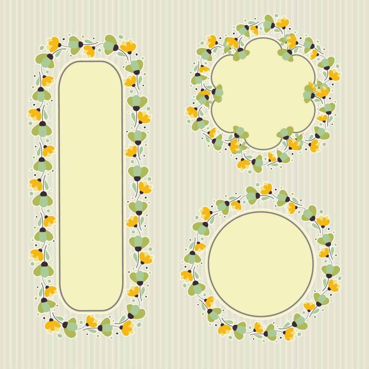 """Free vector """"Set of floral frames """""""