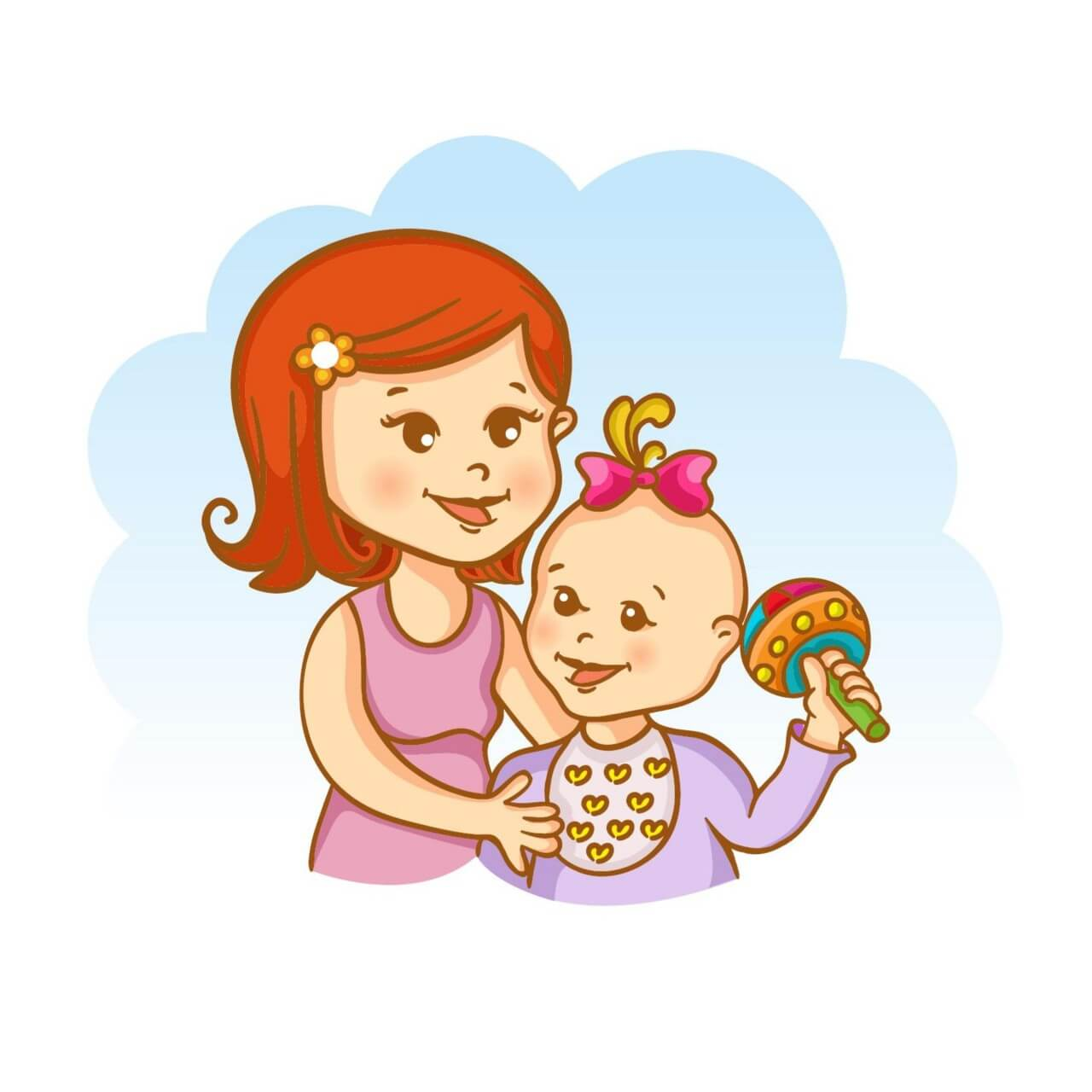"Free vector ""Mother and child vector illustration"""