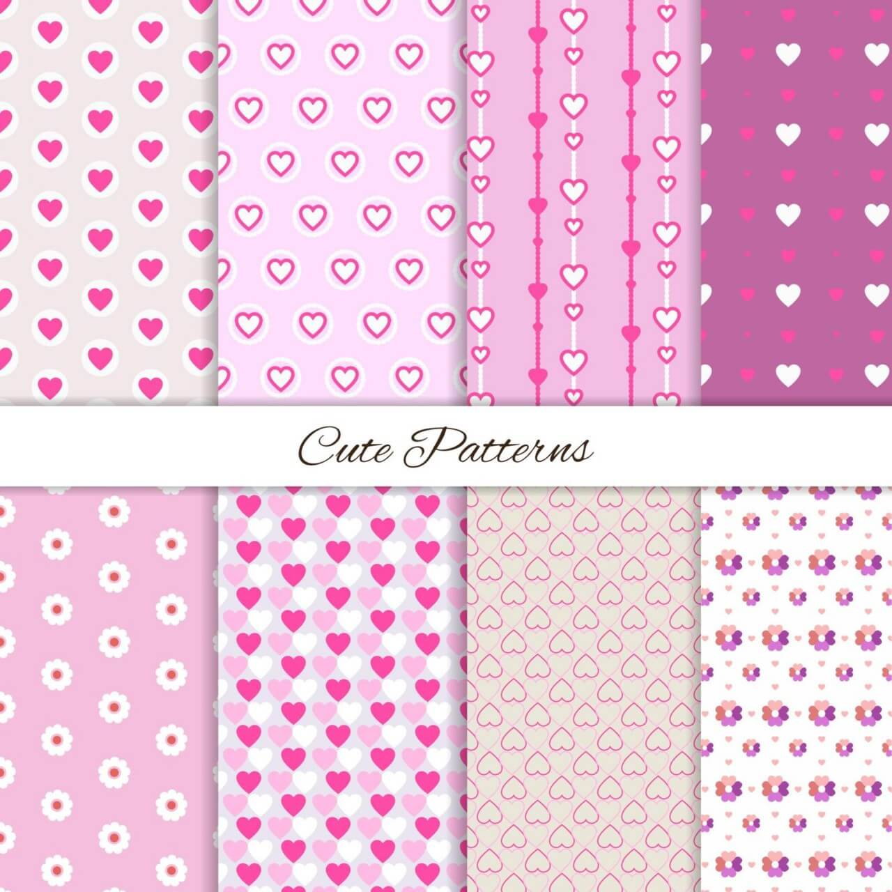 "Free vector ""Set of seamless love patterns """