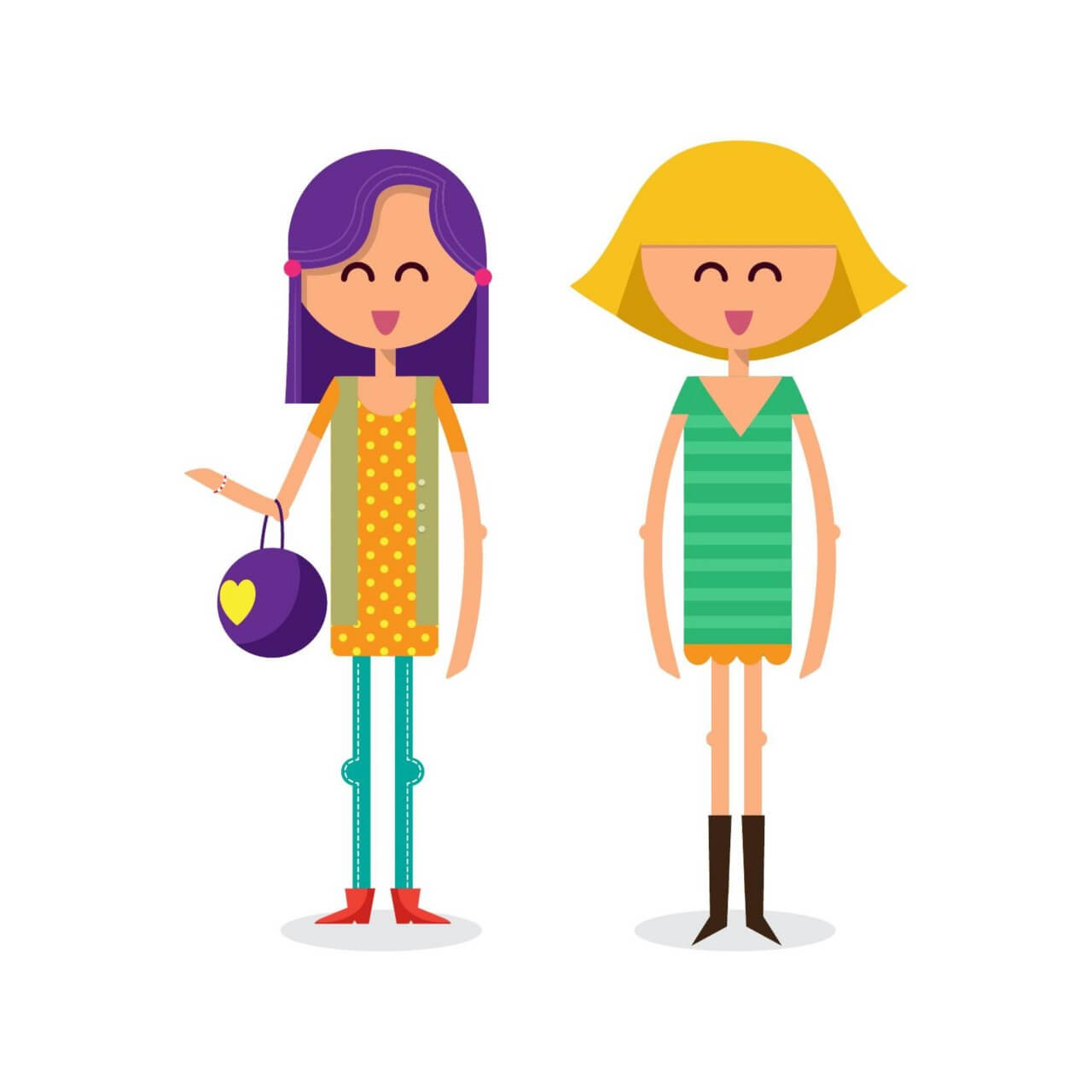 "Free vector ""Girls shopping vector illustration"""