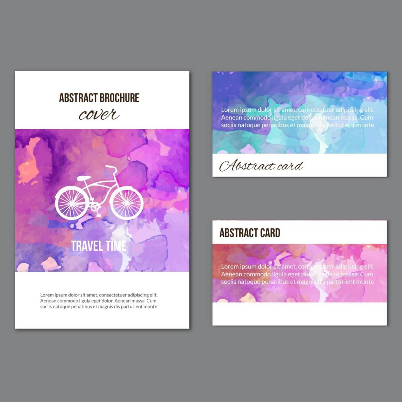 "Free vector ""Watercolor brochure and cards"""