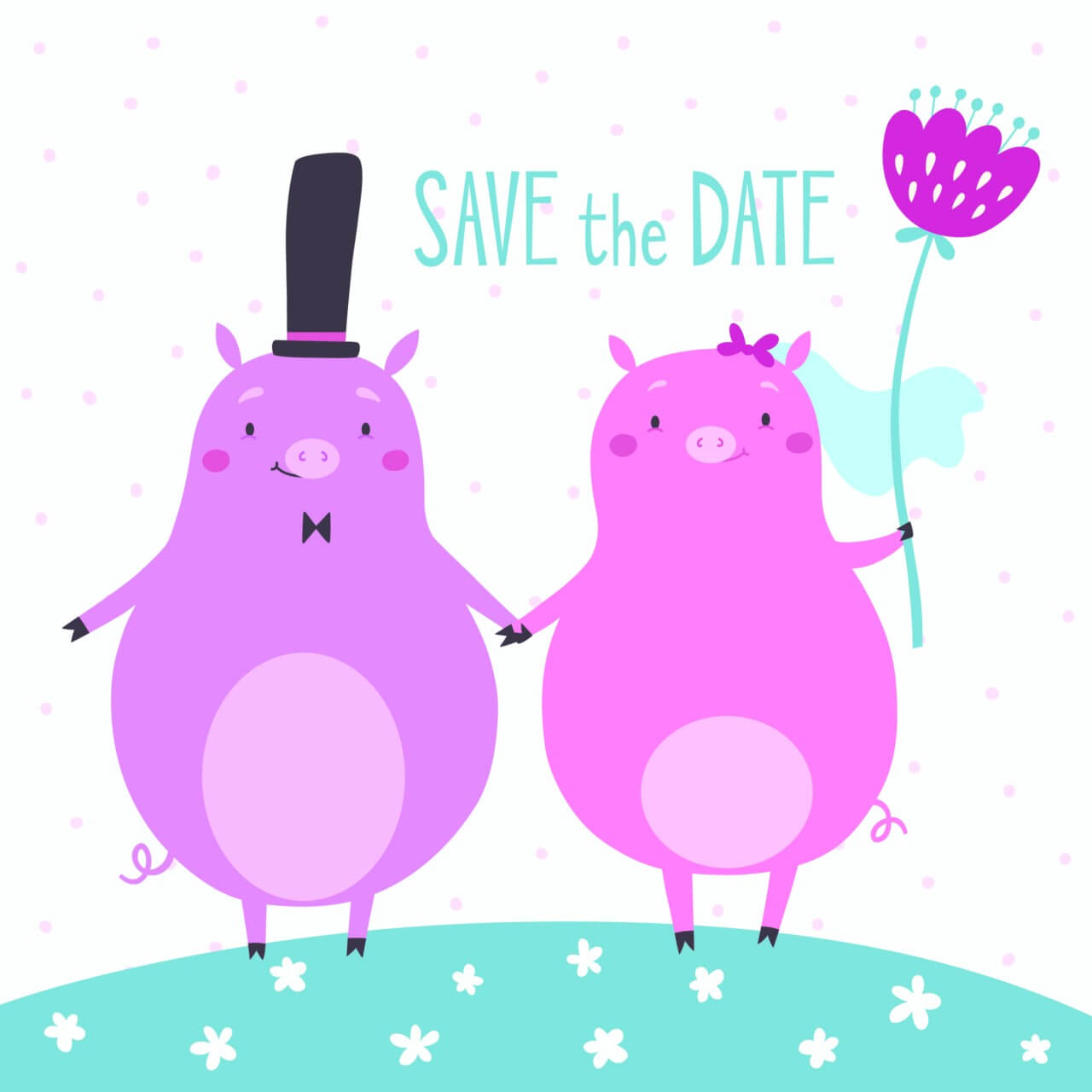 """Free vector """"Save the date vector card with cute pigs"""""""