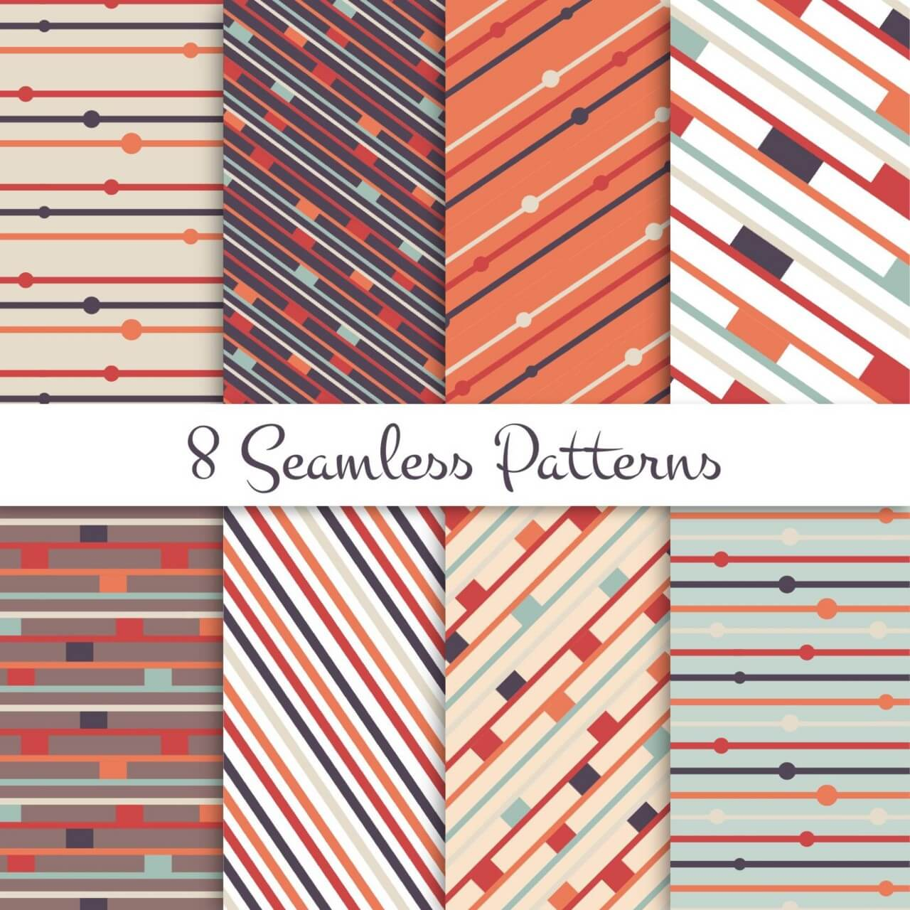 "Free vector ""Retro lines seamless patterns set"""