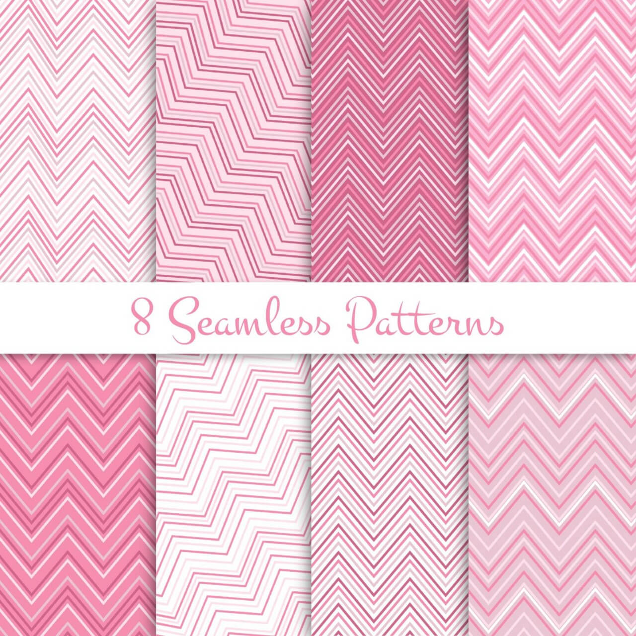 "Free vector ""Pink zig zag seamless patterns set"""