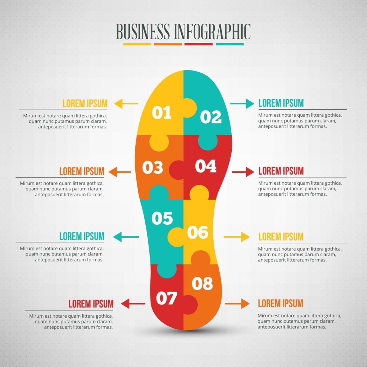 "Free vector ""Business infographic, puzzle of a shoe shape"""