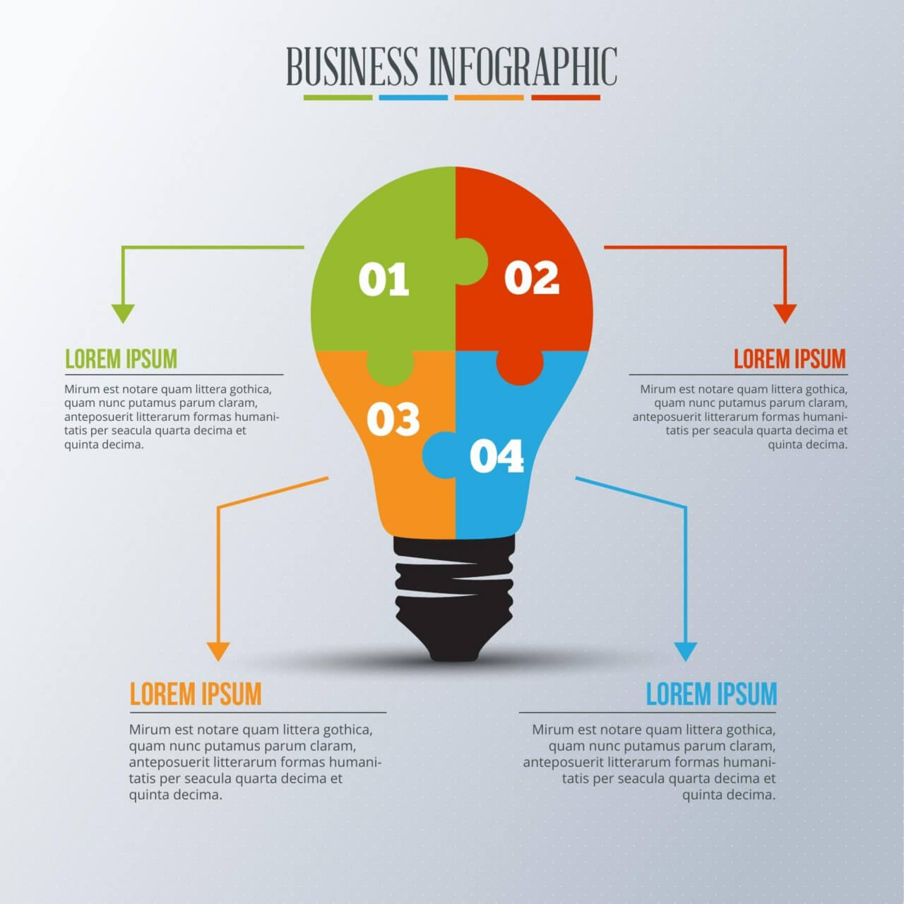 "Free vector ""Infographic template with light bulb puzzle"""