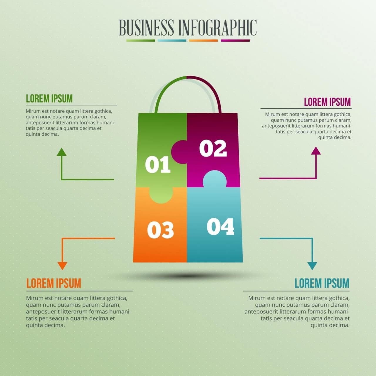"Free vector ""Infographic template with puzzle style shopping bag"""