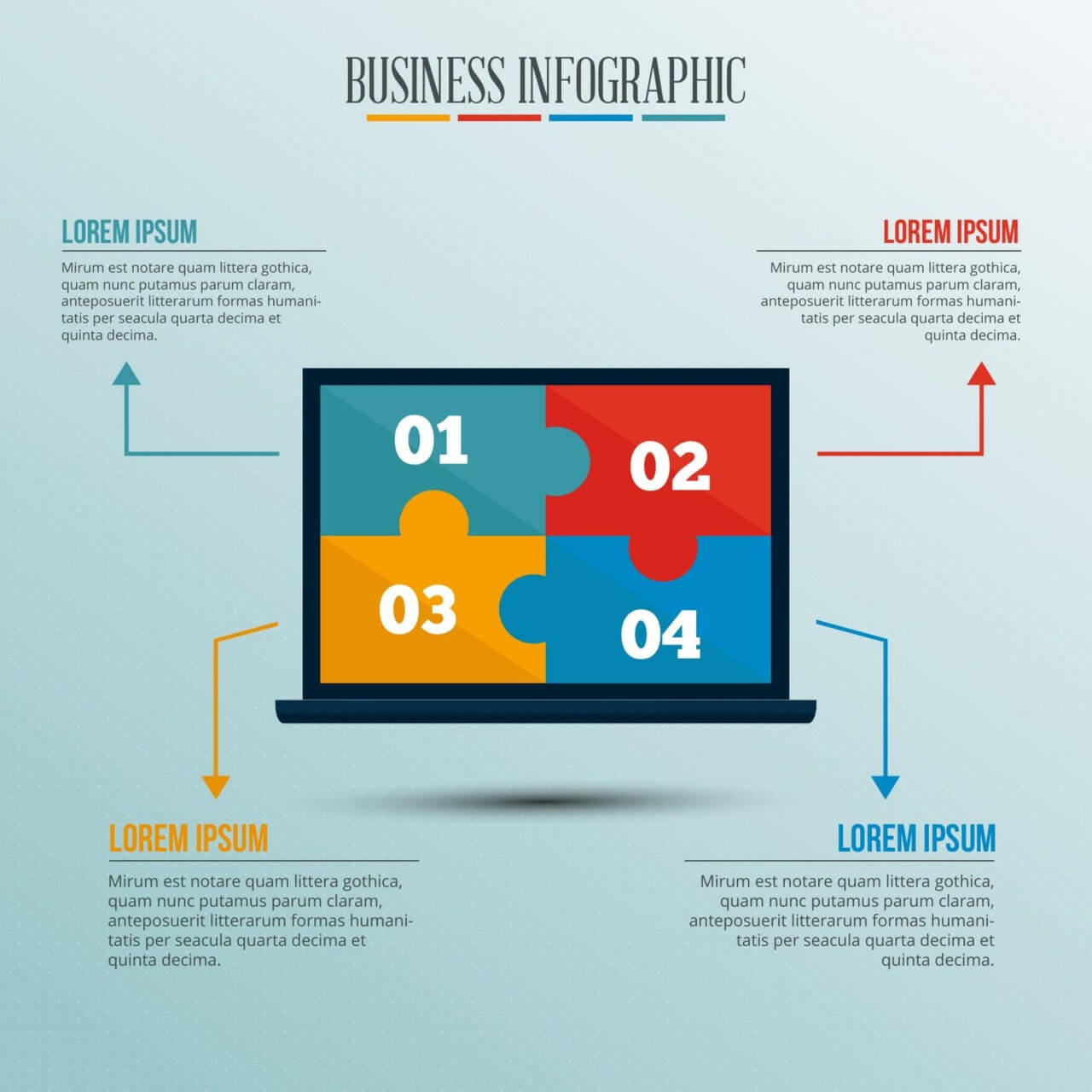 "Free vector ""Infographic template with puzzle style laptop"""