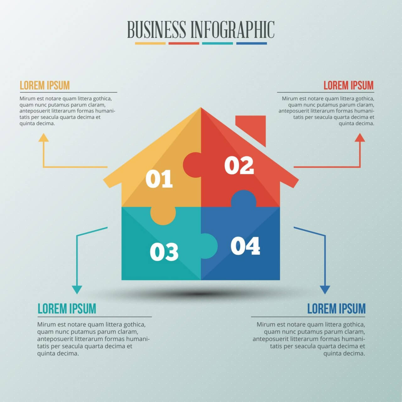"Free vector ""Infographic template with puzzle style house"""