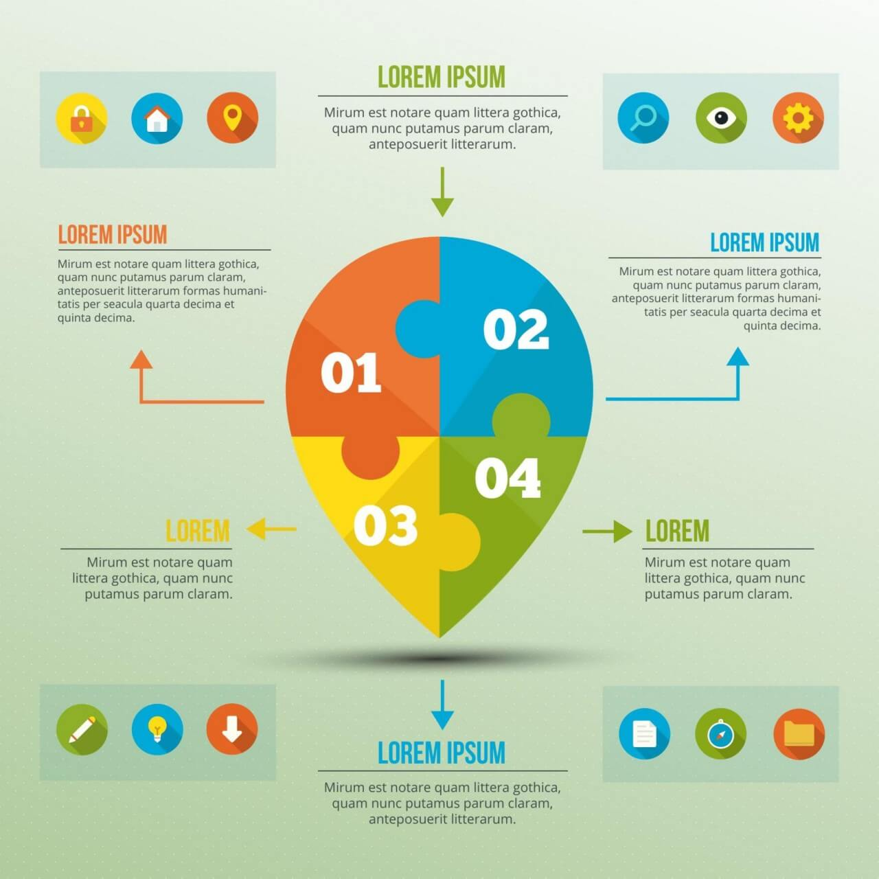 """Free vector """"Infographic template with puzzle location sign"""""""