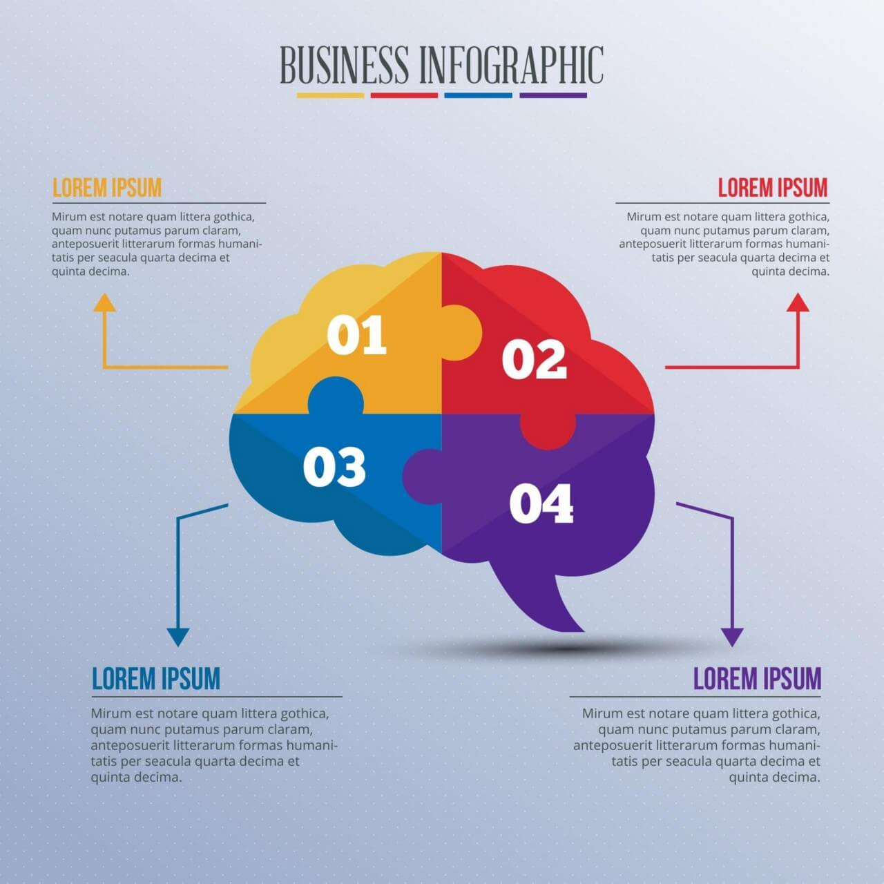 "Free vector ""Infographic template with puzzle style brain"""