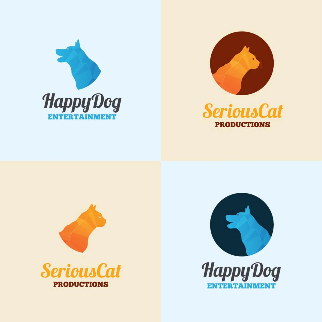 """Free vector """"Dog and cat logo template"""""""