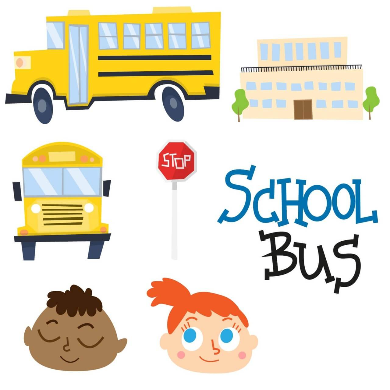 """Free vector """"Cute school bus and school vectors"""""""