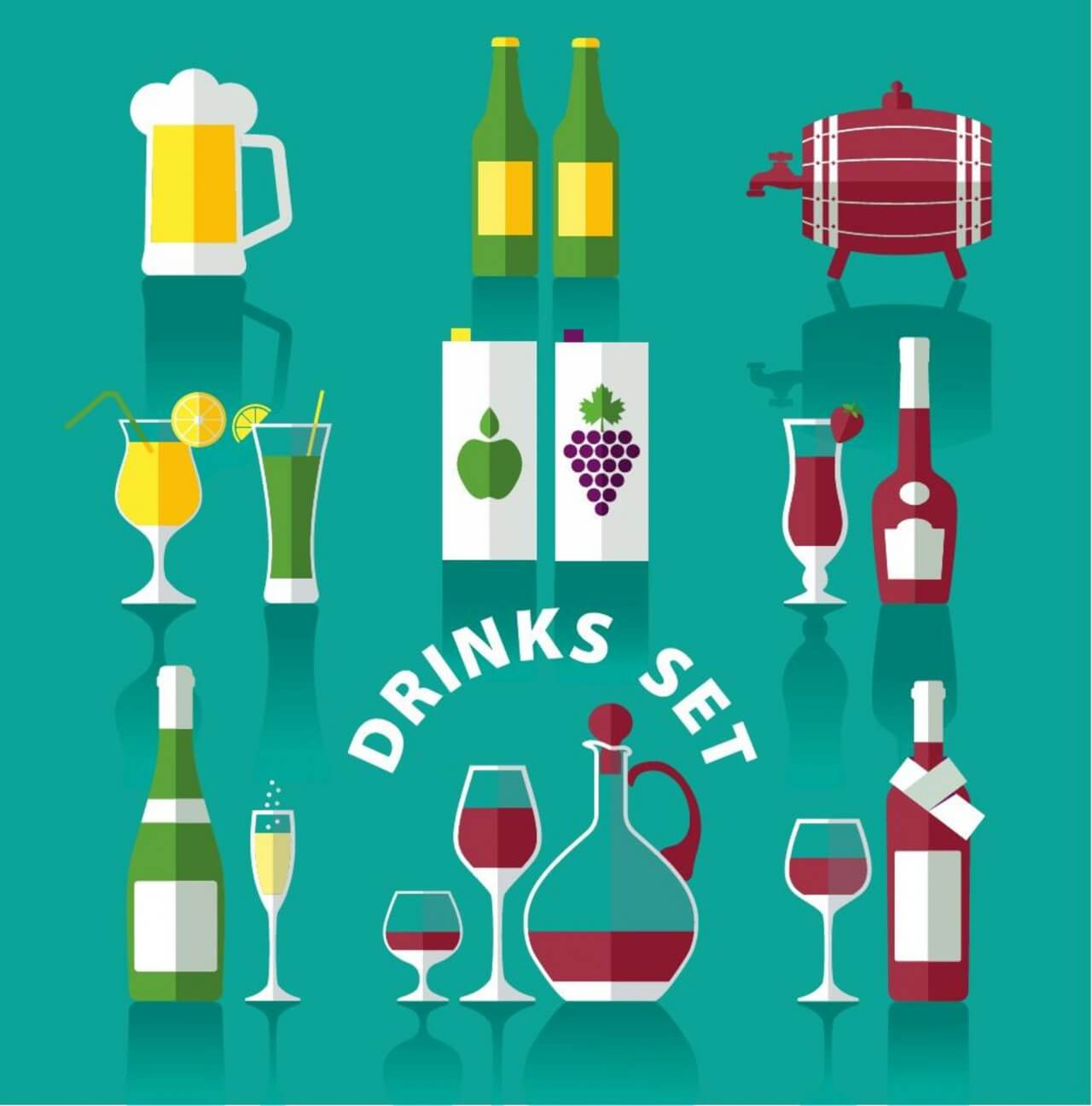 "Free vector ""Drink icons of flat style"""