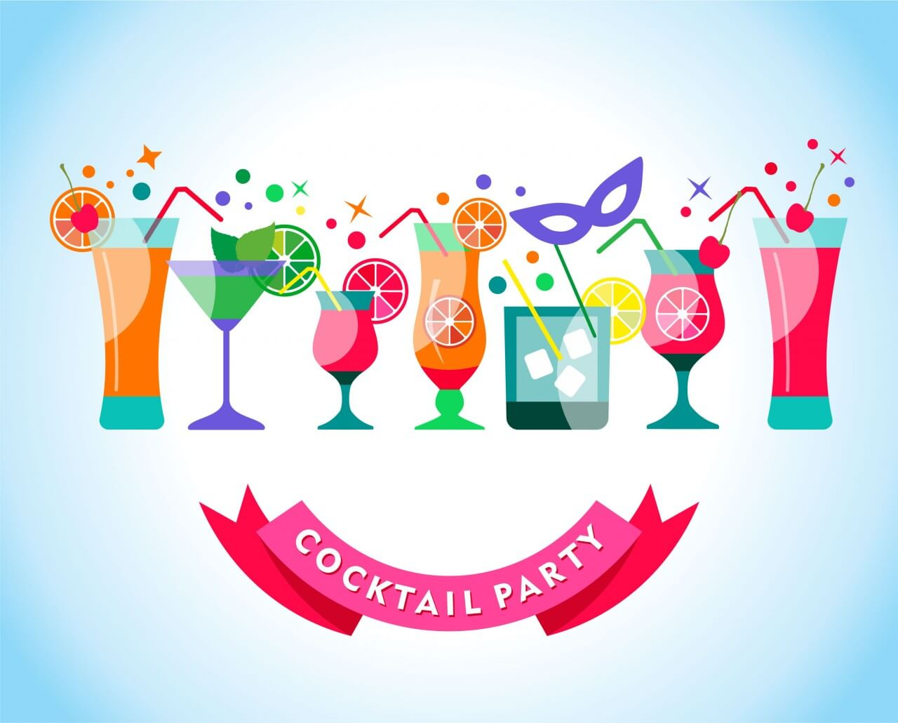 "Free vector ""Cocktail party illustration"""