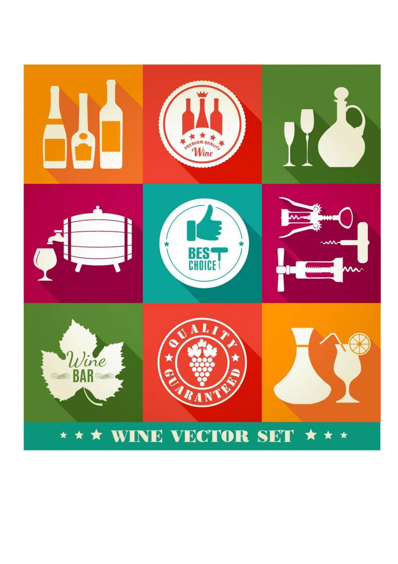 "Free vector ""Drink illustration of vine. Color flat icons."""