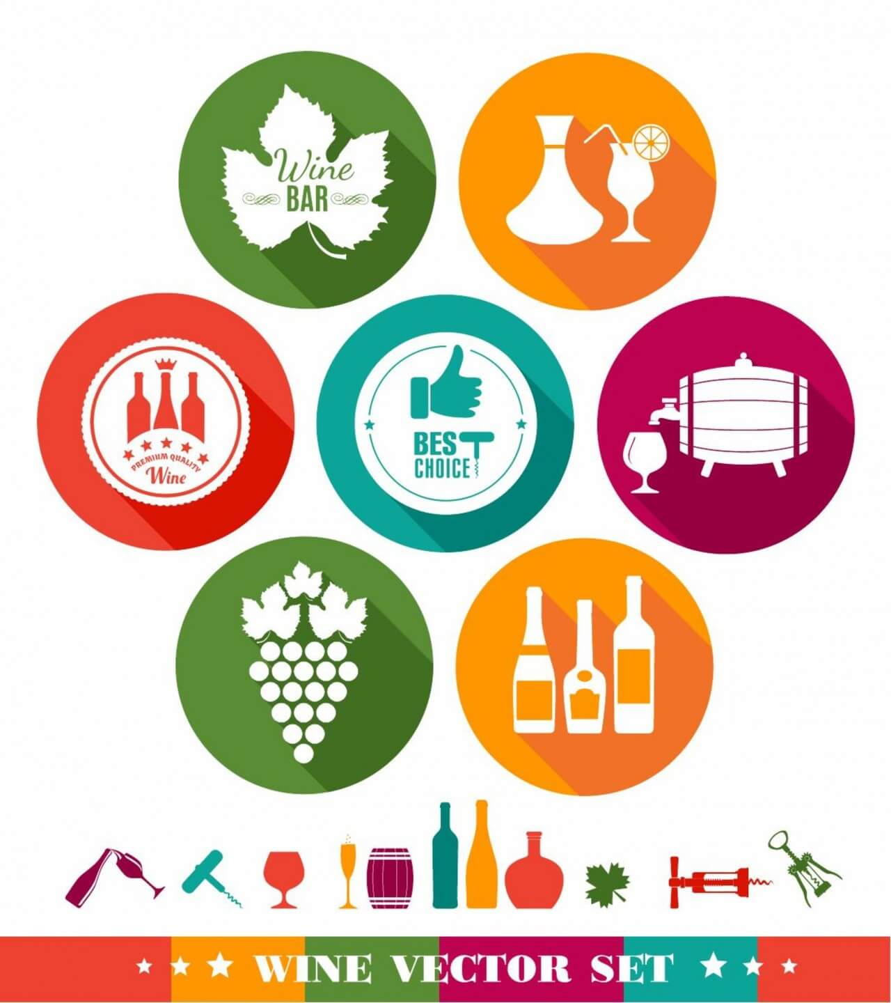"Free vector ""Drink illustration of wine. Color flat icons."""