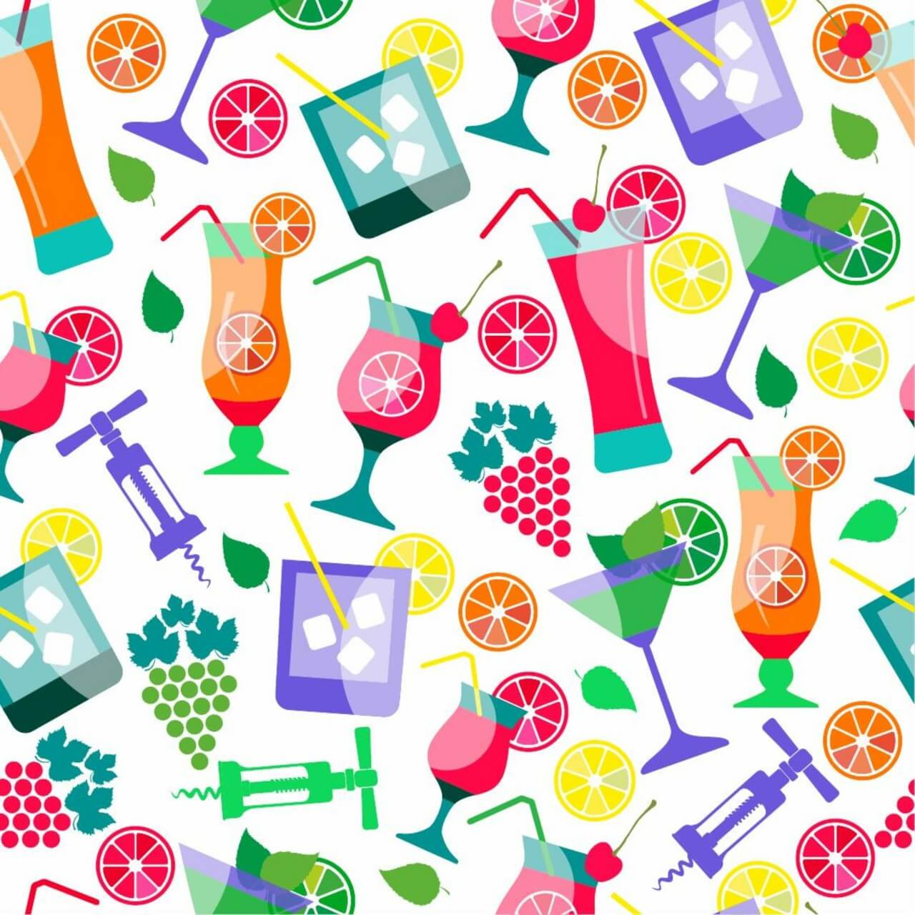 "Free vector ""Seamless pattern of cocktails"""