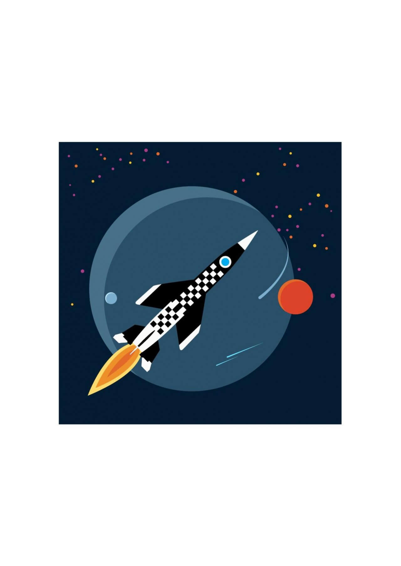 "Free vector ""Rocket in space"""