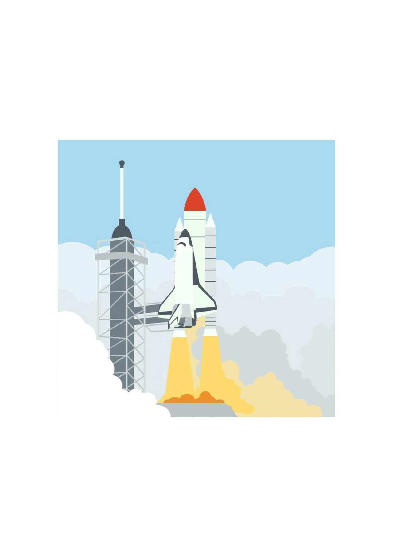 "Free vector ""Launching space shuttle"""
