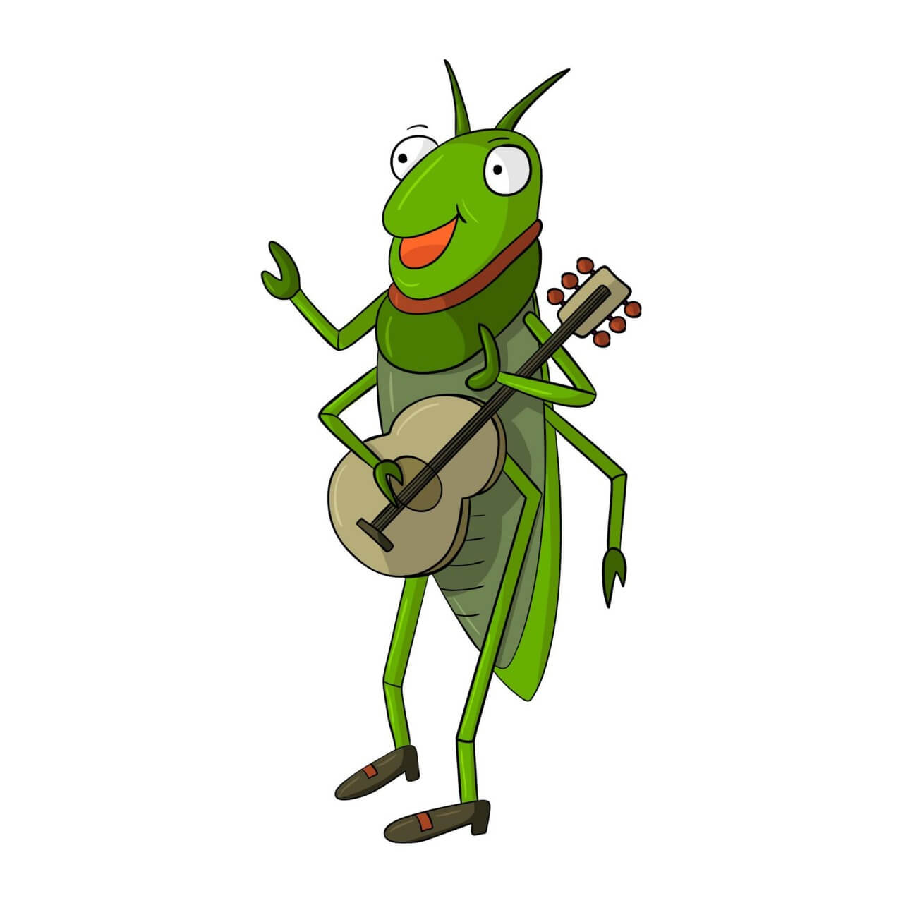 "Free vector ""Cricket Playing Guitar"""