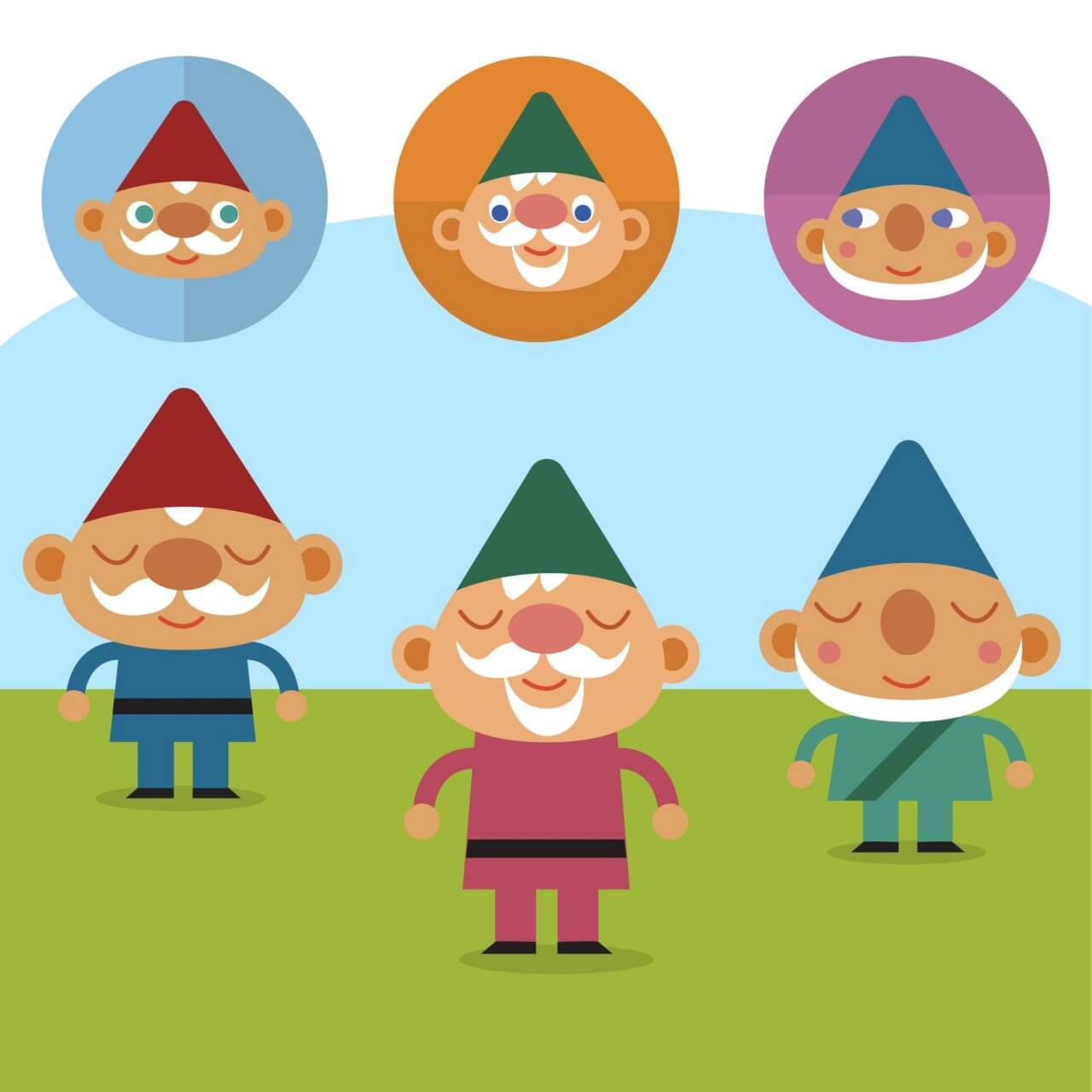 "Free vector ""Cute Gnomes on lawn vector set"""