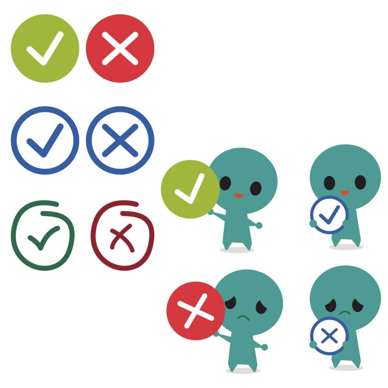 """Free vector """"Correct and incorrect icons with mascot"""""""