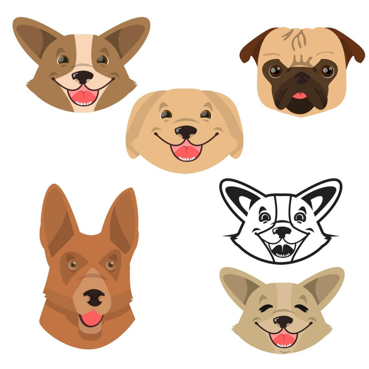 "Free vector ""Cute smiling happy dogs vector set"""