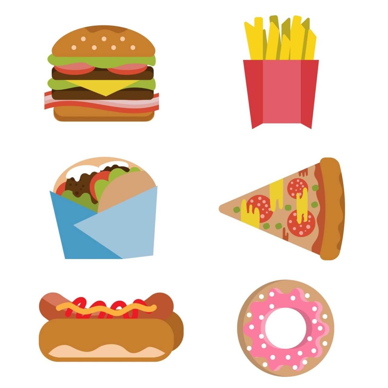 "Free vector ""Fast food burger fries hot dog donut flat vector set"""