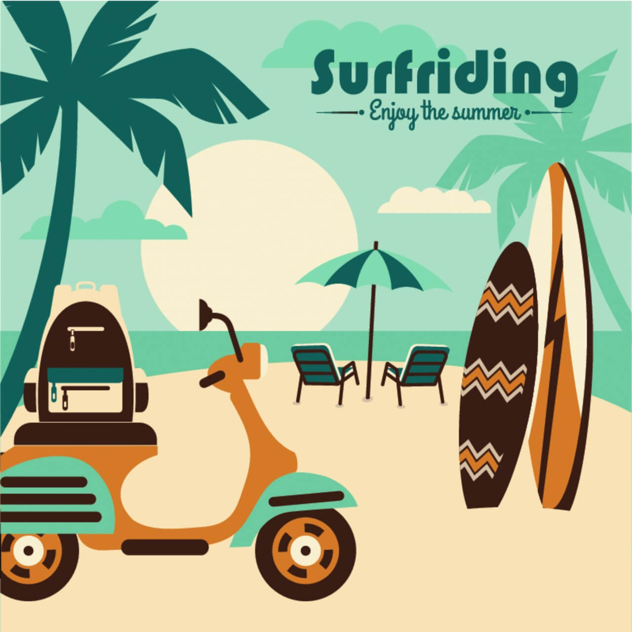 "Free vector ""Illustration of surfriding."""
