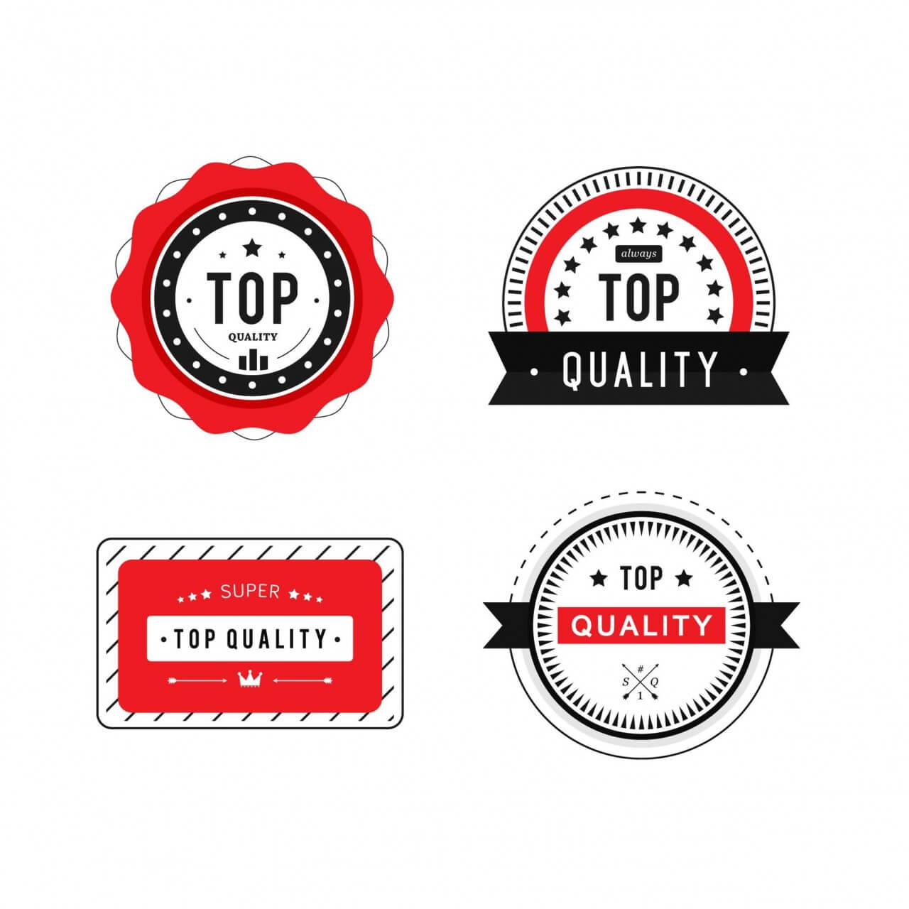 "Free vector ""Top Quality Badges"""