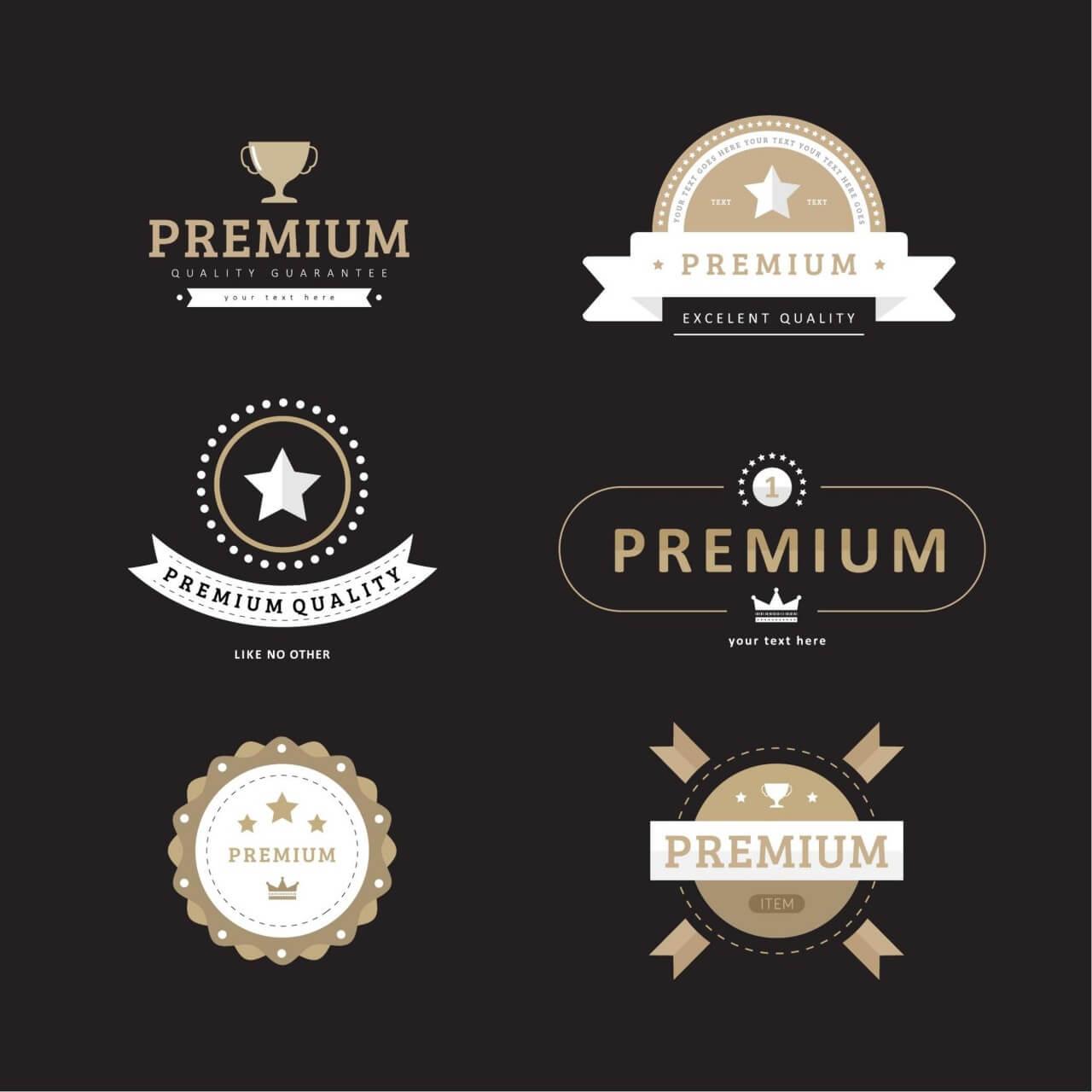 """Free vector """"Premium Quality Badges"""""""