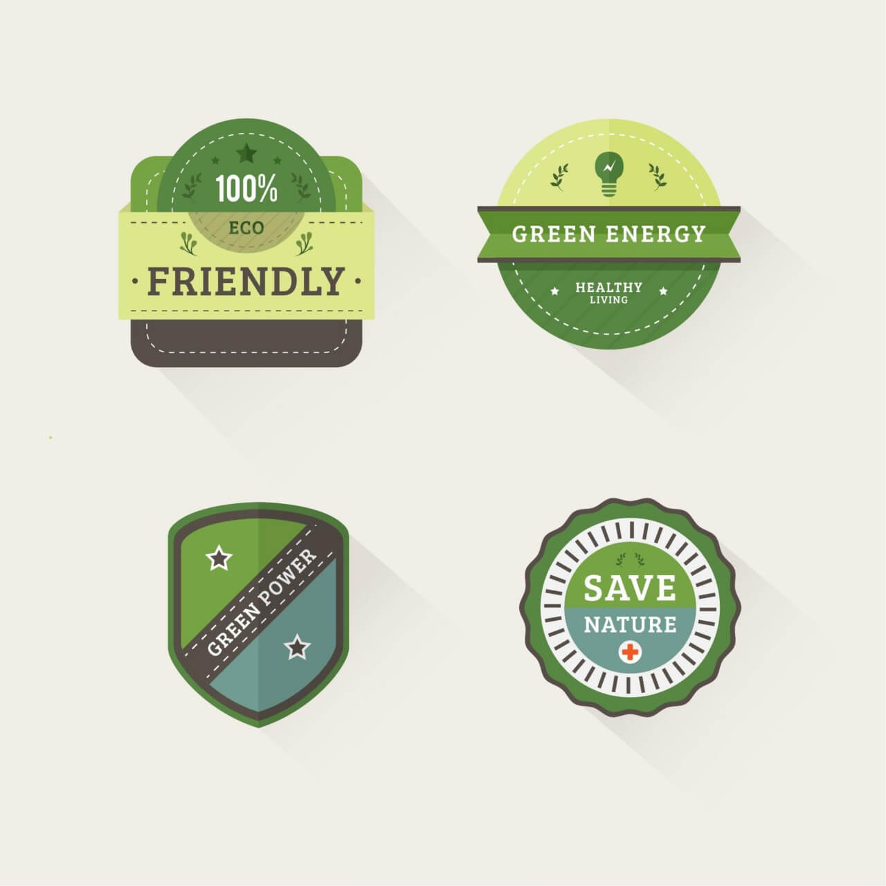 "Free vector ""Nature Badges"""