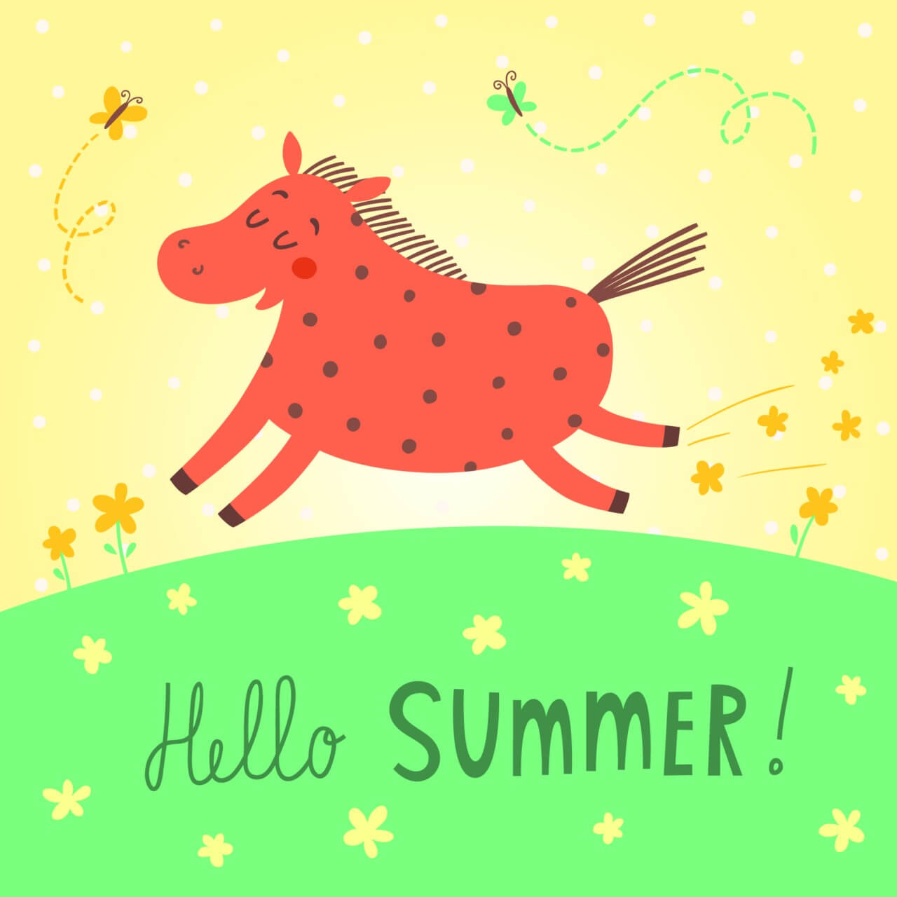 "Free vector ""Hello summer vector card"""