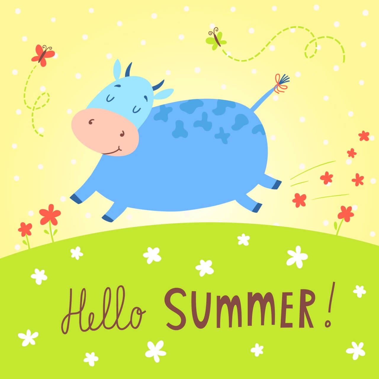"""Free vector """"Hello summer vector card"""""""