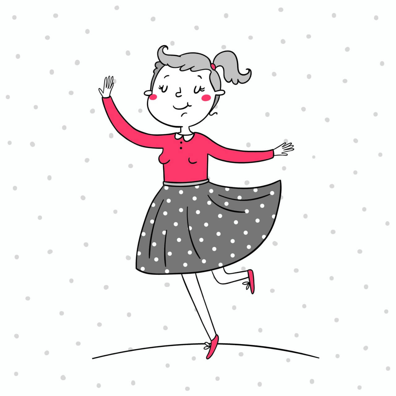 "Free vector ""Illustration of a girl dancing"""