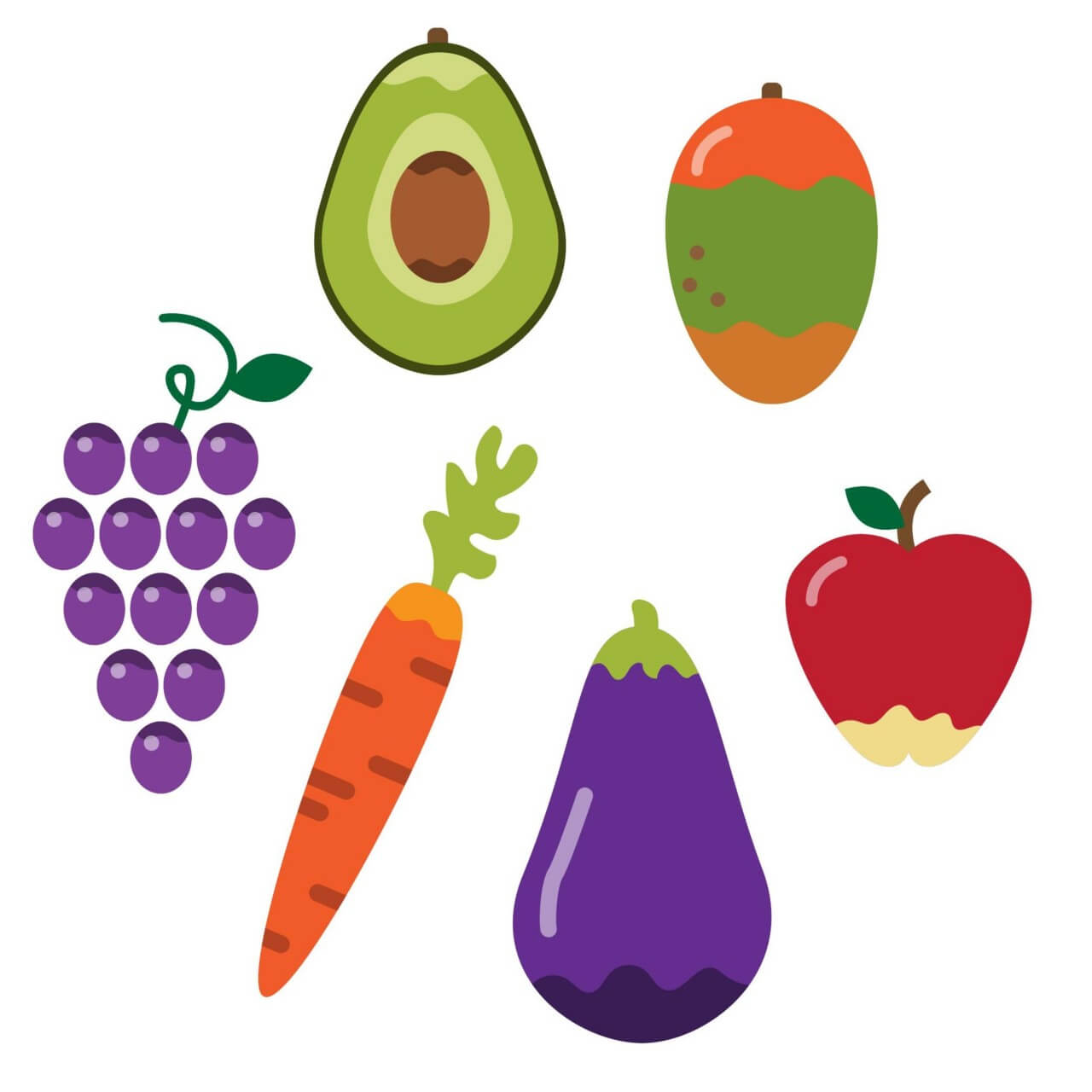 """Free vector """"Healthy vegetables and fruit"""""""