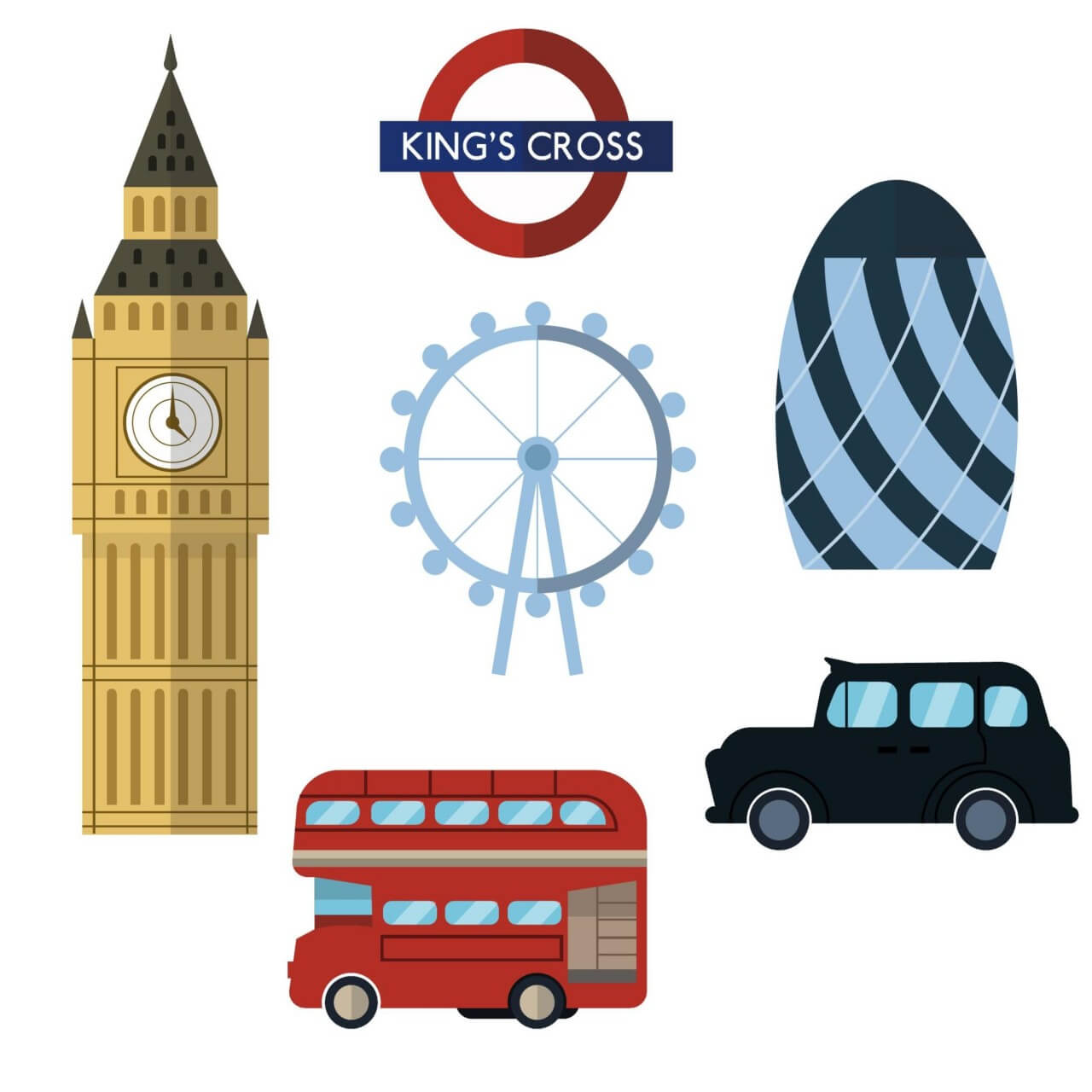 """Free vector """"London icons and elements"""""""