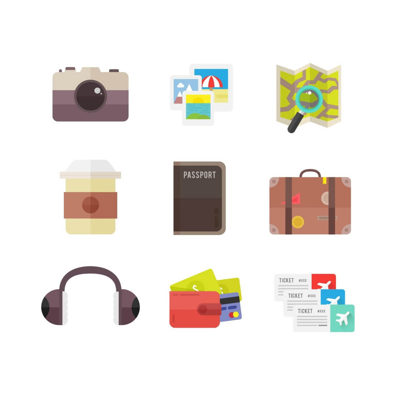 """Free vector """"Travel Icons"""""""