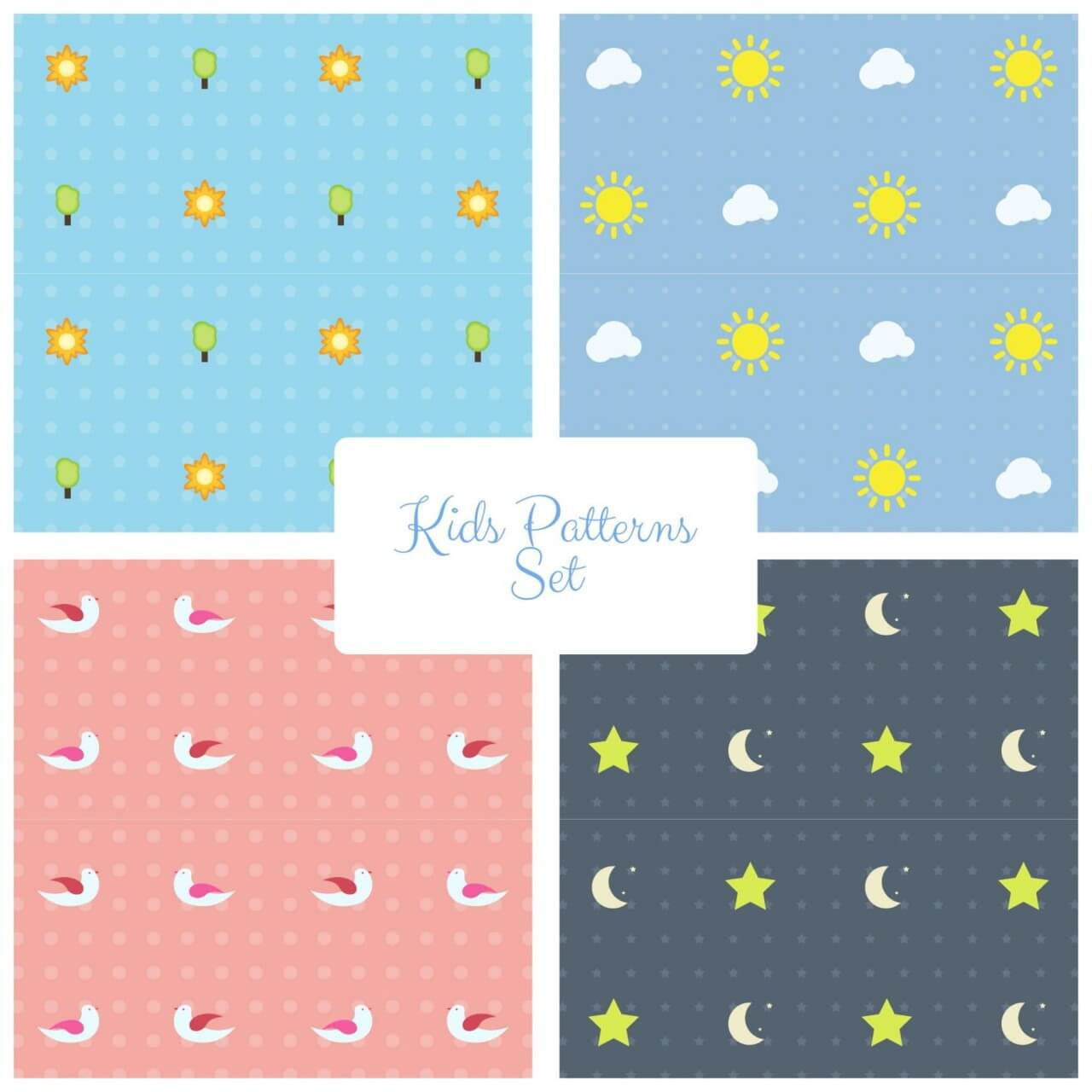 "Free vector ""Kids Vector Patterns Set"""