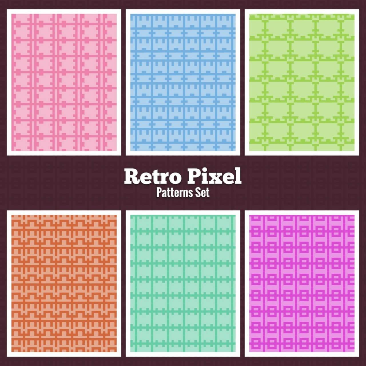 "Free vector ""Retro Pixel Patterns Set"""