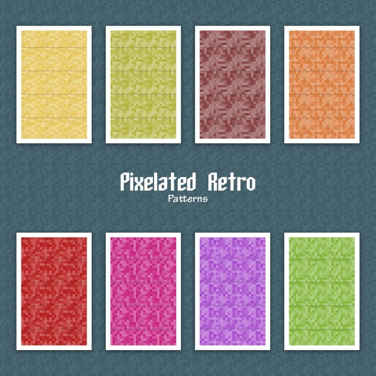 "Free vector ""Pixelated Retro Patterns"""