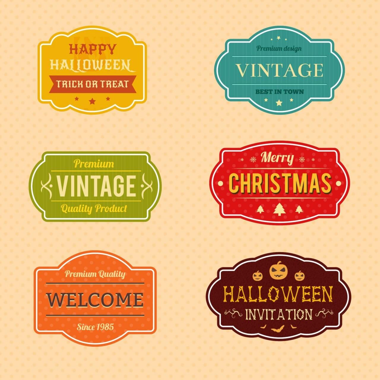 "Free vector ""Holiday Vector Badges"""