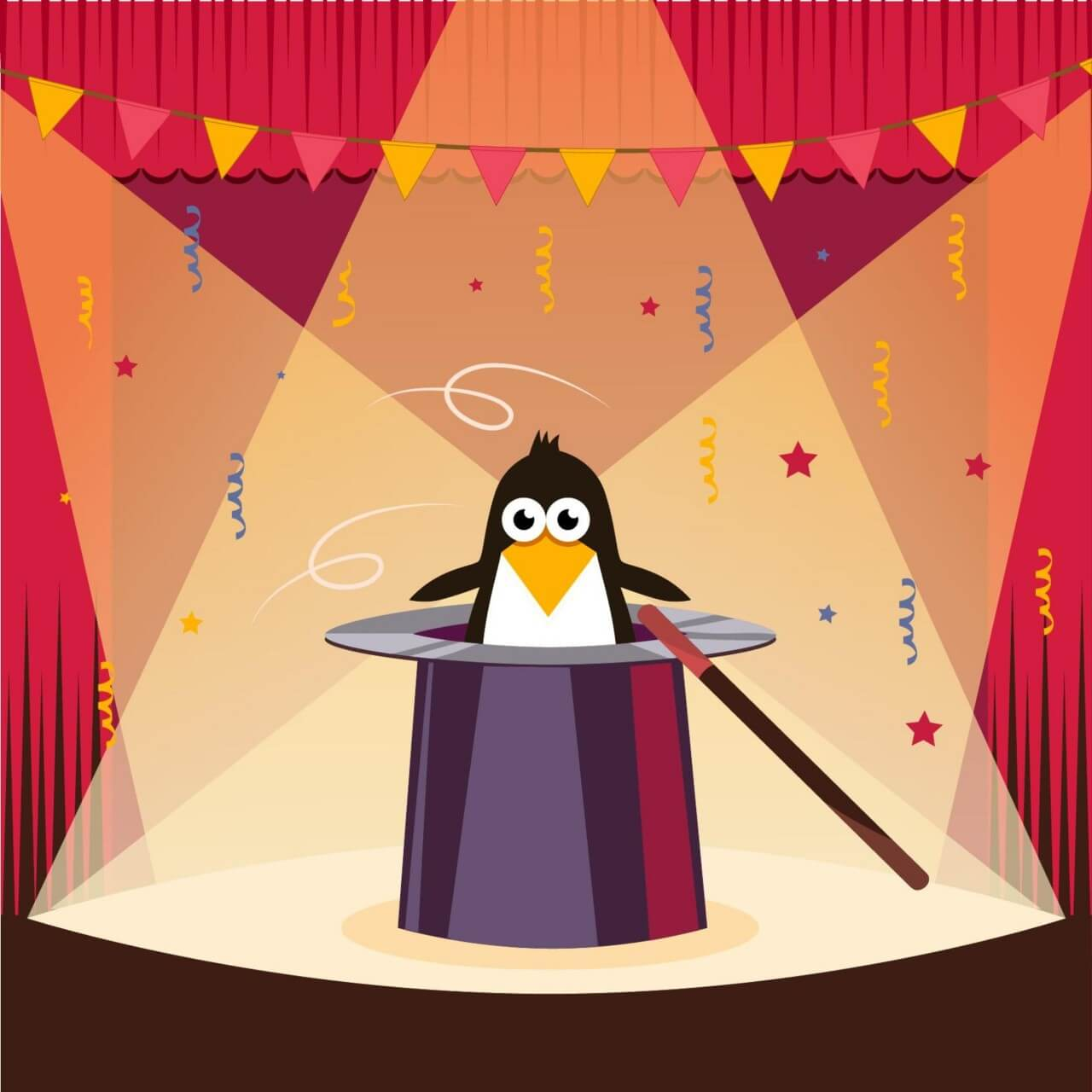 "Free vector ""Cute penguin on the stage"""