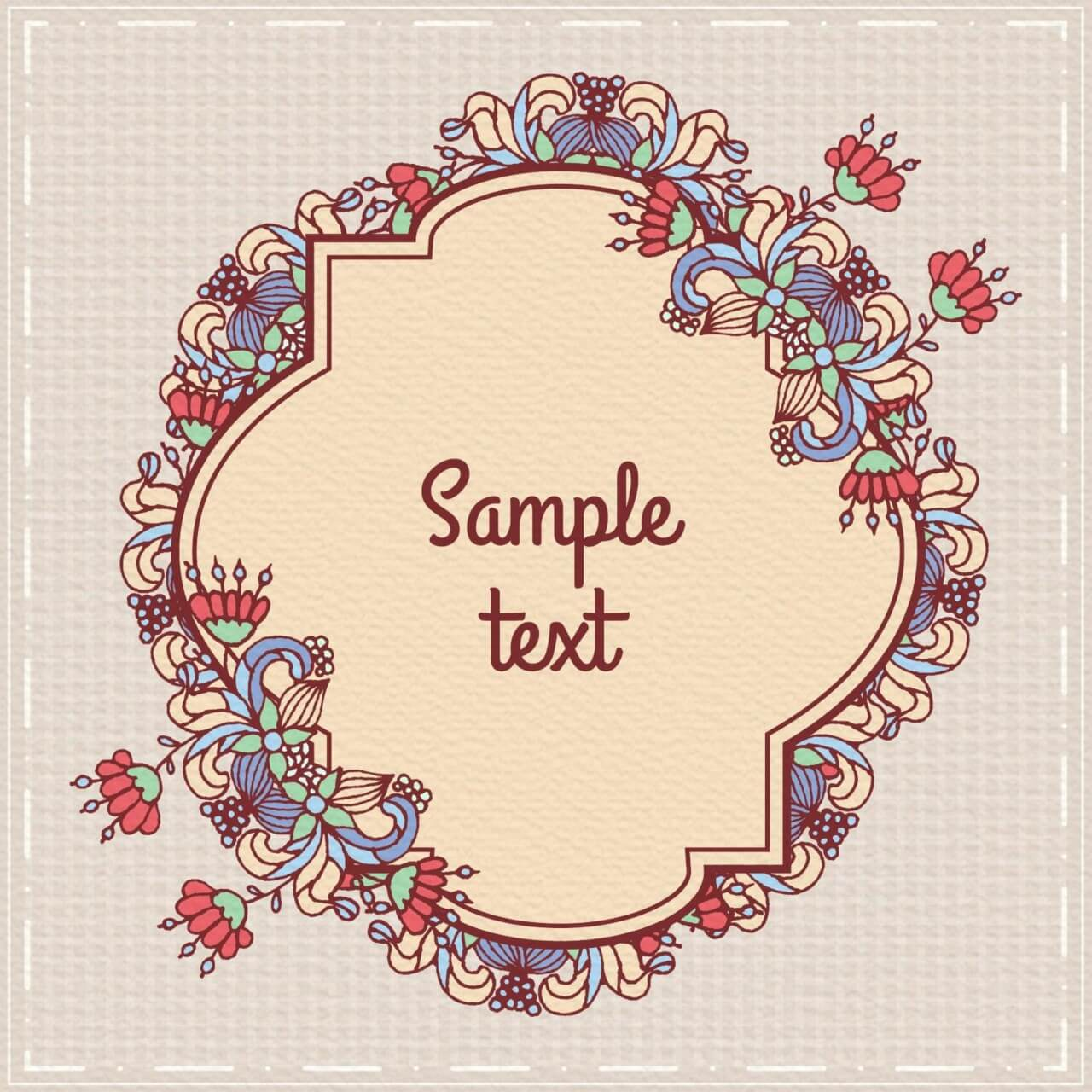 "Free vector ""Doodle floral illustration with frame"""