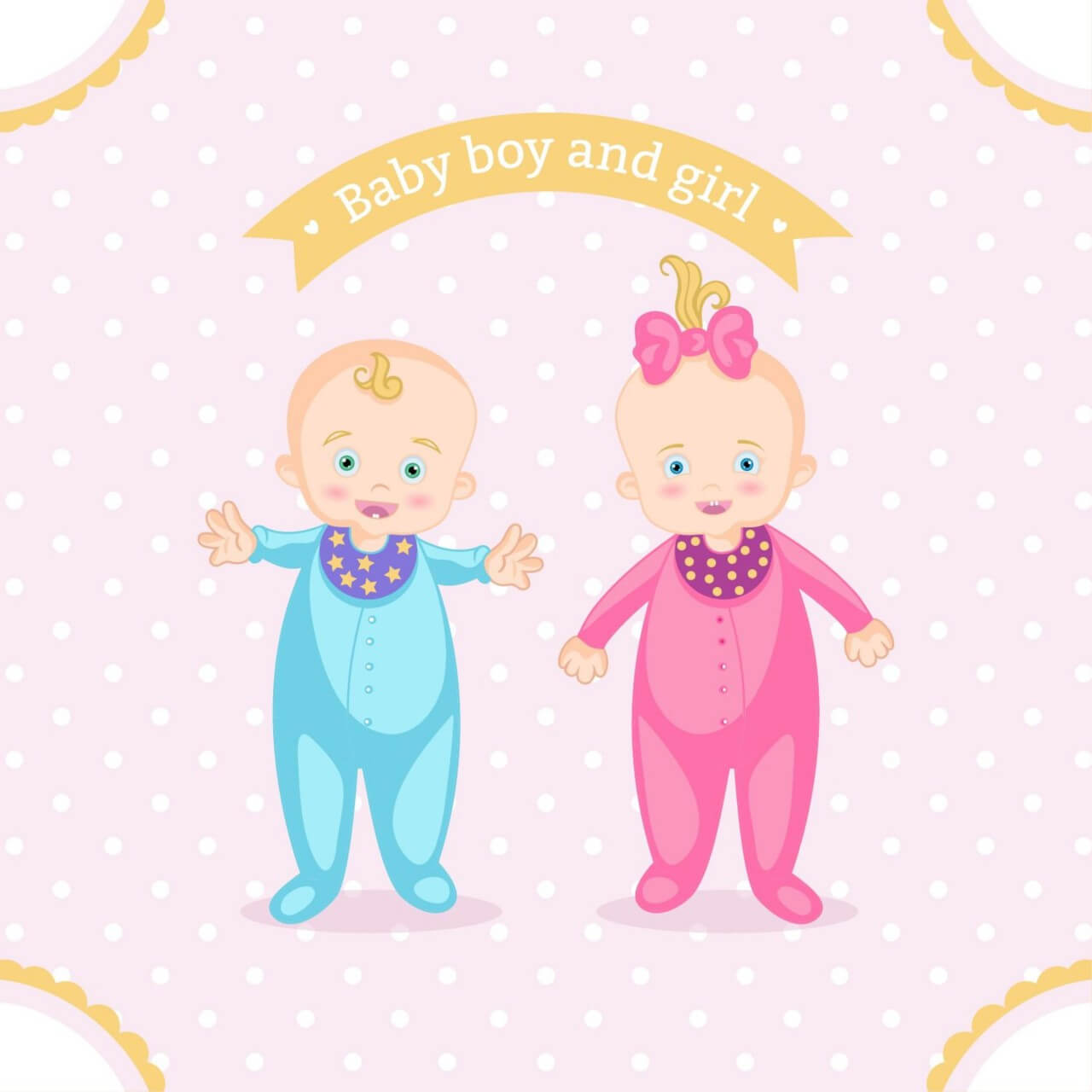 "Free vector ""Baby boy and girl"""
