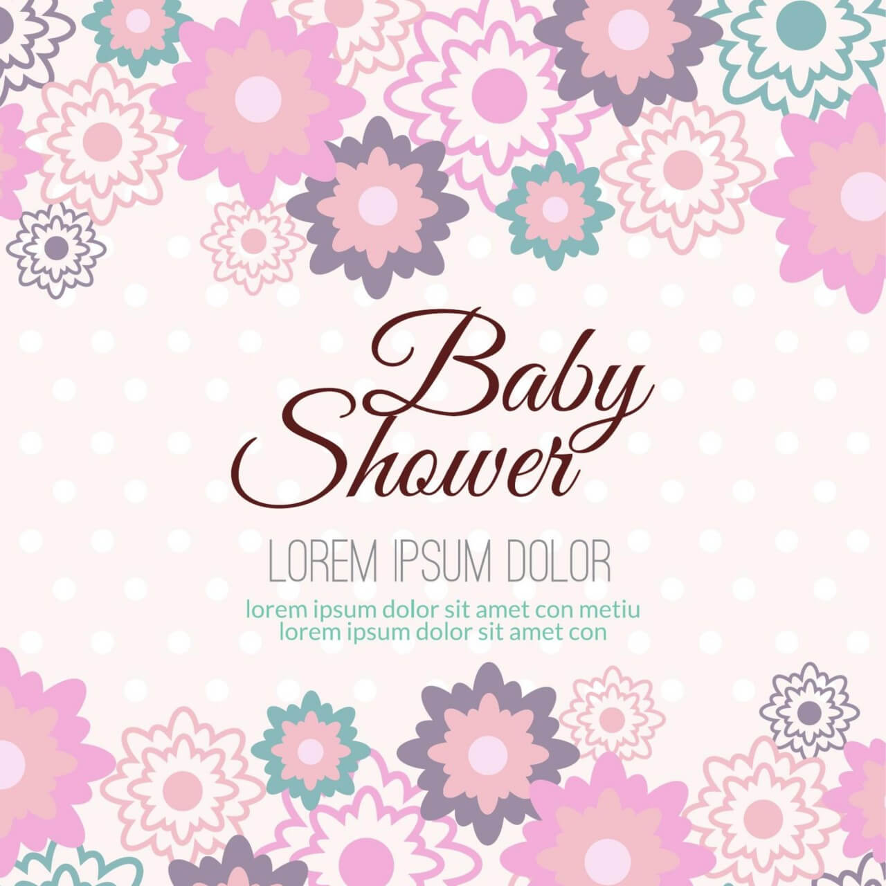 "Free vector ""Baby shower with floral background"""