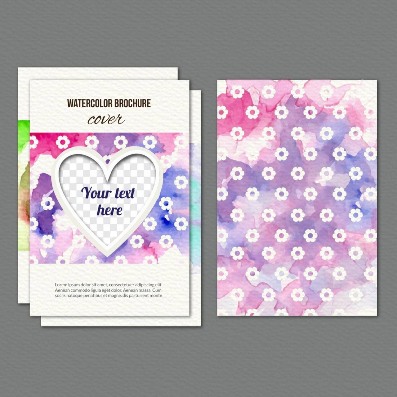"Free vector ""Watercolor cover with flowers and heart"""