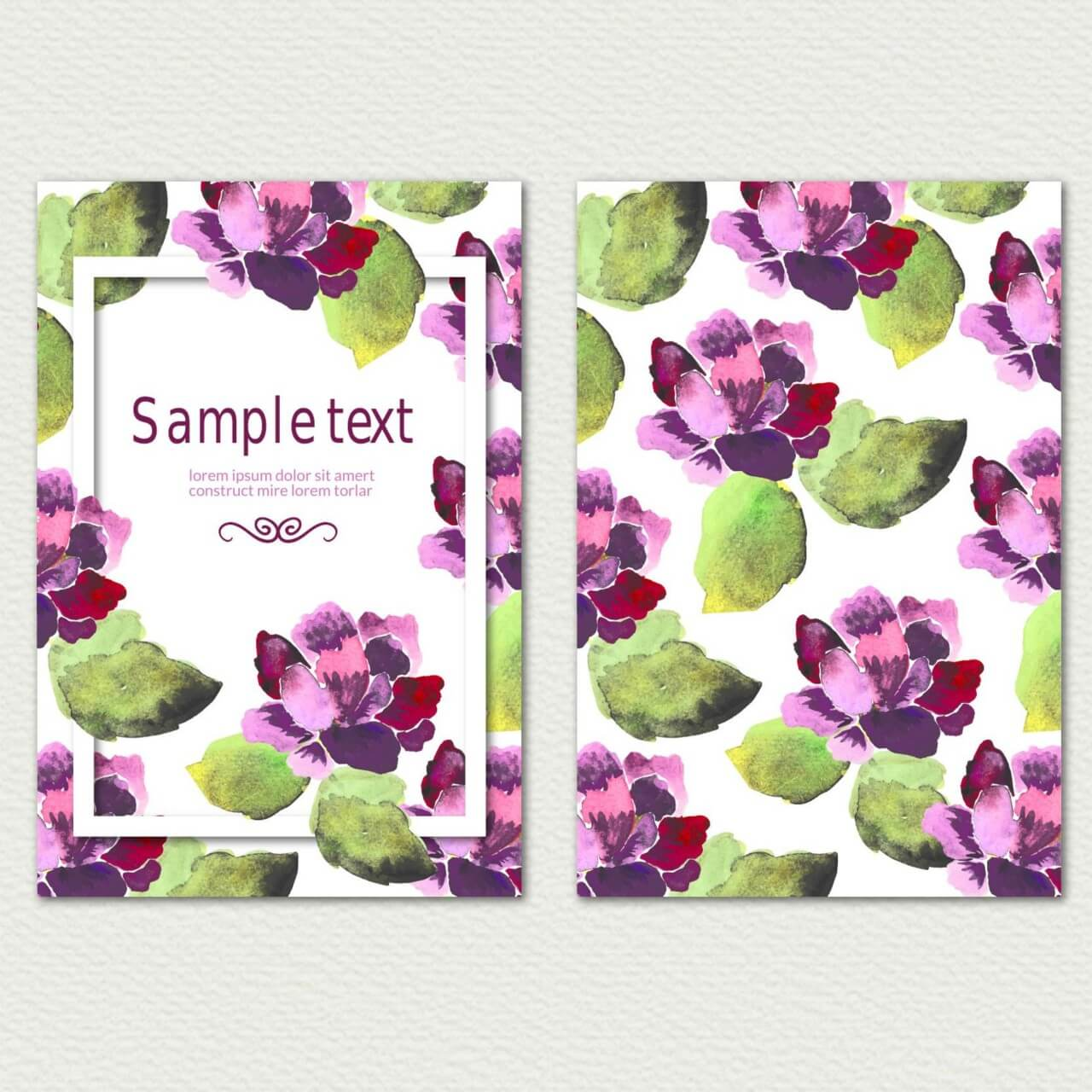 "Free vector ""Watercolor cover with flowers"""